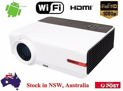 New 5000 Lumen Android Wifi 1080P Full HD Home Theater TV HDMI USB LED Projector