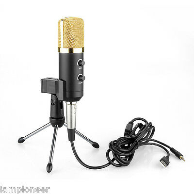 Black Computer USB Studio Condenser Microphone Cardioid PC Recording Mic w/Stand