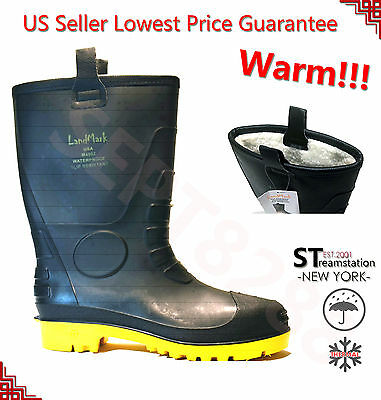 Men's Black Winter Snow Rain Boots Warm Fleece Lined Thermolite Rubber Insulated