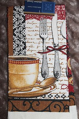 NEW COTTON COFFEE CUPS Fork & Knife KITCHEN  DISH TOWEL Ecru Red and Brown