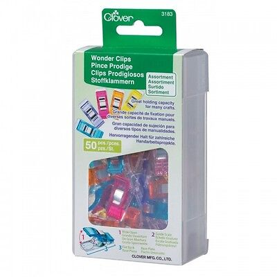 Clover WONDER CLIPS (50 pieces) #3183, Assorted Colors