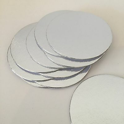 "10 X 3"" INCH (75mm) SILVER ROUND Thin  Cut Edge Cake Cards Boards Culpitt SILVER"