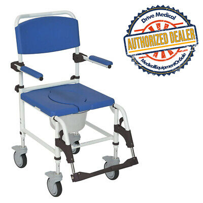 Drive Medical NRS185007 Aluminum Shower Commode Transport Chair,Blue