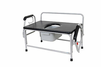 Drive Medical 11132-1 Extra Wide Drop Arm Bedside Commode Seat,White & Black