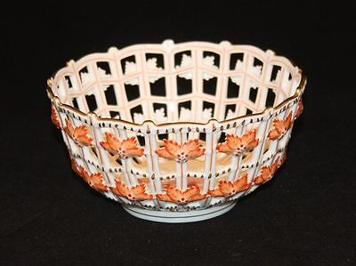 Herend Chinese Bouquet Rust Reticulated Pierced Open Weave Basket Bowl 7473