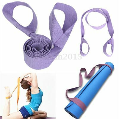 Purple Soft Cotton Elastic Yoga Pilates Mat Looped Sling Strap Exercise Stretch