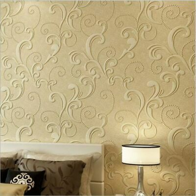 3D Textured Wallpaper Roll European Style White Cream Lounge Bedroom 10M Roll