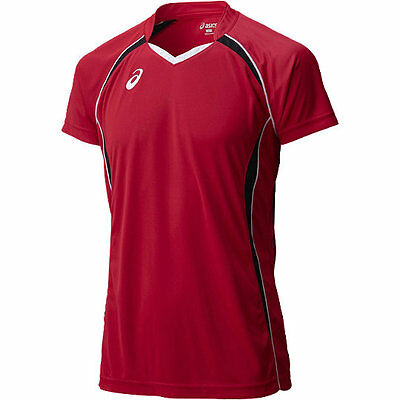 ASICS JAPAN Volleyball Game Training T-shirt Jersey XW1316 Red Black
