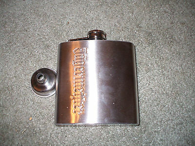 jagermeister SILVER COLORED TIN flask jager liquor 4 inches tall+ DISPENSER,NEW