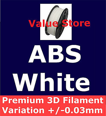 1x ABS (White) 3D Filament 1Kg 1.75mm Variation/Roundness +/- 0.03mm By Express