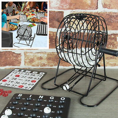 Traditional Bingo Ball Wire Cage Wheel Lotto Game Set With Card Marker & Ticket