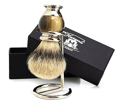 Quality Silver Tip Badger hair shaving brush for men Handle Made in England