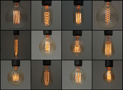 Vintage Industrial Filament Edison Light Lamp Bulbs | E27 es Screw & B22 Bayonet