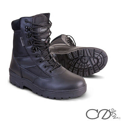 Black Leather Army Patrol Combat Boots Tactical Cadet Security Military Boot