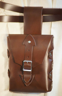 LARP-Pagan-SCA-Festival-Cosplay-Roleplay HANG FROM BELT Brown HERO LEATHER BAG