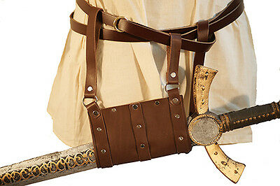 LARP-SCA-Cosplay-Roleplaying-BROWN LEATHER FOAM WEAPON FROG HANGING SCABBARD