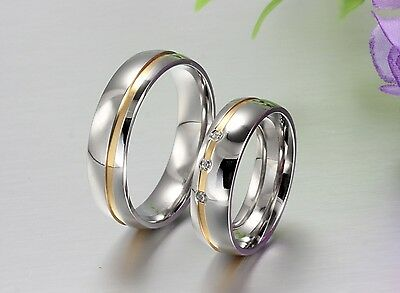 New 6mm men women  titanium  wedding band engagement ring silver gold christmas