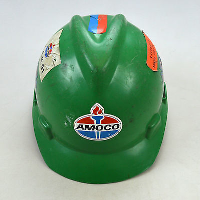 Vintage AMOCO Oil Gas Refinery Fire Brigade Union Green Hard Hat M 6 1/2 - 7 3/4