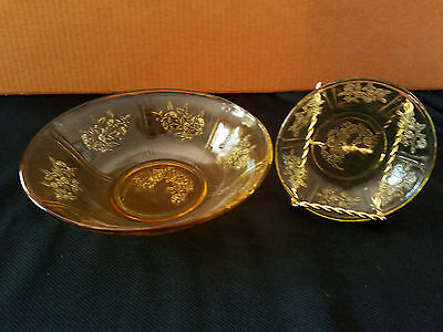 Federal Glass, Sharon, Cabbage Rose, Amber Set Of 2 Bowls. Circa 1935-39