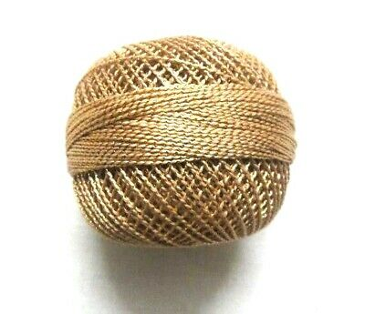 Beige with Gold Lurex Cotton Thread Yarn Crochet Embroidery Knitting - 20 grams