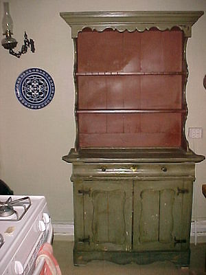 Dutch stepback painted Cupboard, C. 1780