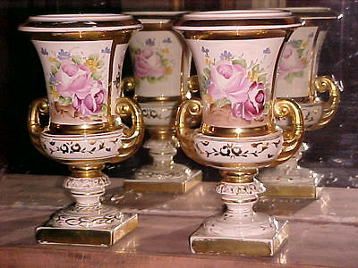 Large Old Floral Paris Urns (pair) 19th Century Porcelain