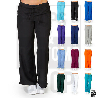 Women's Drawstring Elastic Waist 5-Pocket Scrub Pants Nursing Uniform UltraSoft