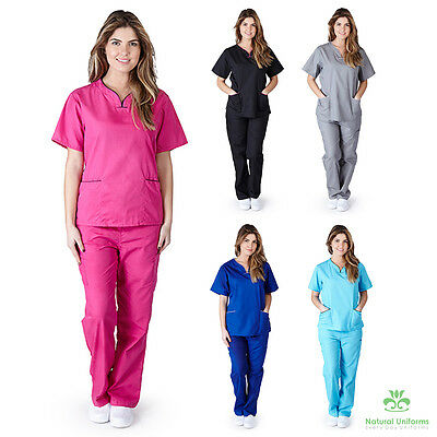Womens Contrast Scallop Scrub Set Medical Nursing Clinic Uniform XS-XL BP109