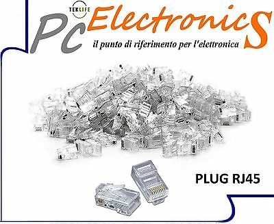 100 Pezzi Connettore Lan Cat5 8 Poli Ethernet Plug Lan  Rj45 Network Internet