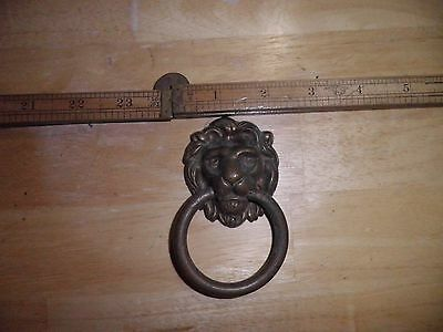 Antique Vtg Brass Copper? Lion Door Knocker Knob