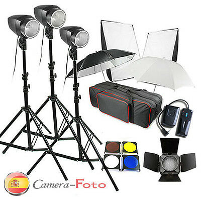 540W Flash iluminación Kit Softbox Barndoor gatillo bolsa de transporte 180W*3