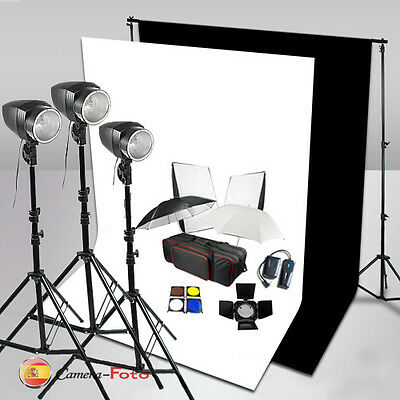 3x180W 540 STUDIO FLASH KIT LIGHTING SET Iluminación Fondo Negro Blanco Soporte