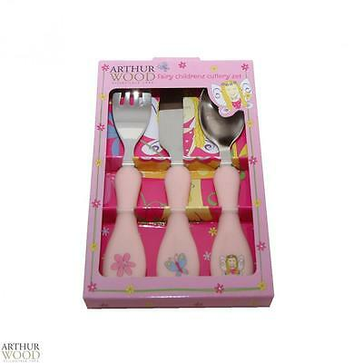 Arthur Wood 3 Piece Fairy Children Dinnerware Tableware Cutlery Set Home New
