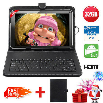 "10"" Inch Android 5.1 Lollipop Quad Core Wifi Camera HDMI Tablet PC Keyboard 32GB"