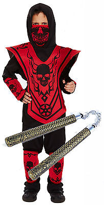 Boys Kids Childrens Ninja Skeleton Fancy Dress Costume Outfit with Toy 4-12