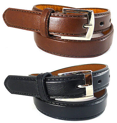 Boys Kids Leather Belt Black Brown Suit Casual Metal Buckle High Quality Uniform