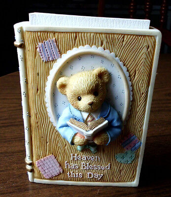 RARE Enesco Cherished Teddy Boy Bible Holder With Bible RETIRED #345105C 1997