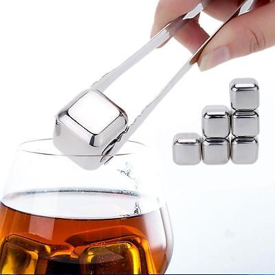 6pcs Reusable Stainless Steel Drinks Chilling Ice Cubes for Whiskey Wine J8D2