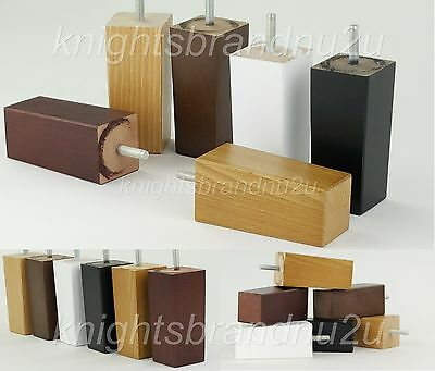 4x SOLID BLOCK REPLACEMENT FURNITURE LEGS FEET SOFA, CHAIRS, SETTEE M10(10mm)