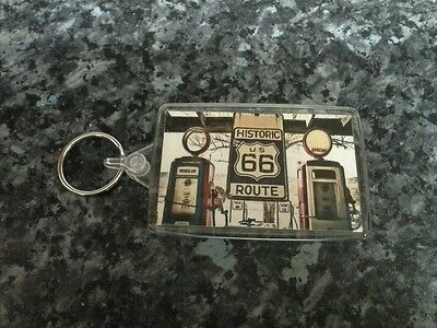 The Open Road Petrol Pumps Americana Route 66 Gas Station Jumbo Keyring NEW