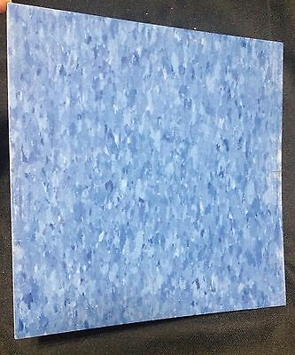 Vintage Vinyl Floor Tile 12 x 12 Lighter Blue Marbleized Mid Century Retro