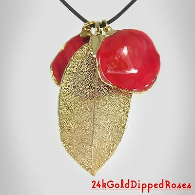 Two 24k Gold Dipped Preserved Rose Petals & Leaf Pendants (Free Gift Box)