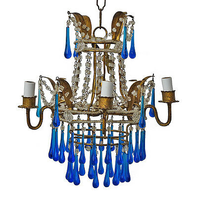 Italian Gilt Chandelier With Glass Blue Glass Drops