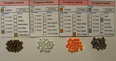 Coloured Tungsten Bead Heads – of different sizes and colours.