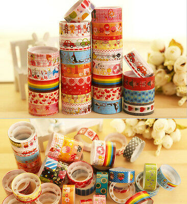 10pcs Roll Mixed Cartoon Deco 1.5*300CM Washi Adhesive Tape Scrapbooking Sticker