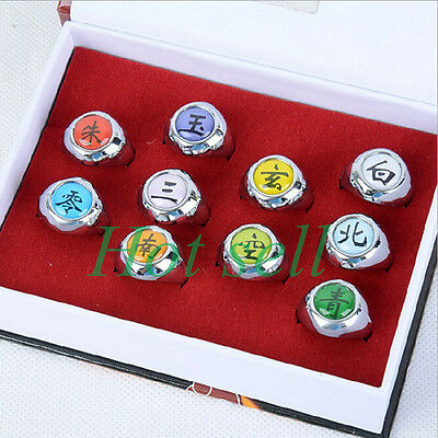 10 pcs Naruto Rings NARUTO Akatsuki Cosplay member's Ring Set New in box