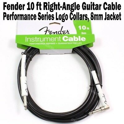 FENDER 10 ft Right-Angle Performance Instrument Guitar Cable FG10L Cord Logo