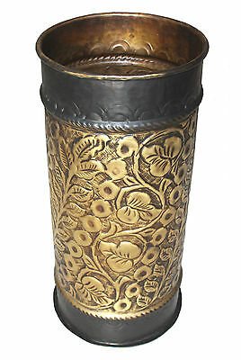 BEAUTIFUL CARVED SOLID BRASS UMBRELLA STAND BROWN RIM- Traditional design