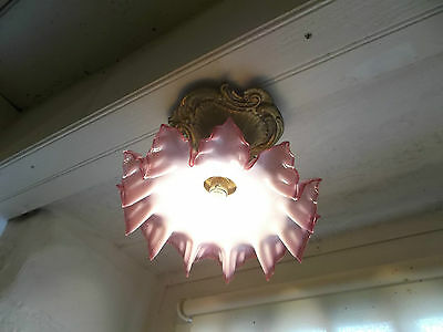 French antique ceiling light frosted glass shade red trim with ornate bronze