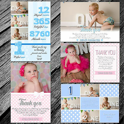 Personalised Children Birthday Invitations or Thank You Cards Boy Girl Photo